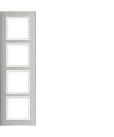 B.7 Ramka 4-krotna pionowa, stal szlachetna/biały