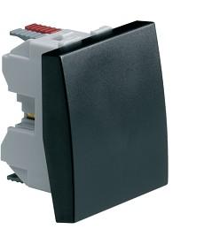 Łącznik klawiszowy uniwersalny (schodowy); Systo; 2 moduły; czarny; 10A/250V