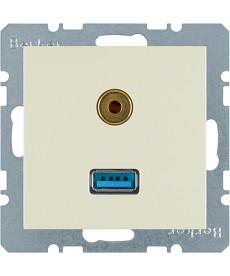 Gniazdo USB / 3,5 mm Audio kremowy, połysk S.1