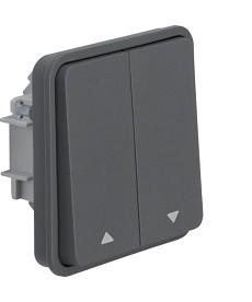 W.1 Łącznik żaluzjowy przyciskowy nadruk symboli strzałka IP55 szary