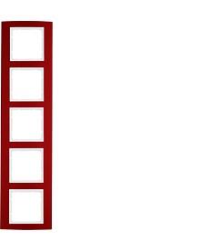 Ramka 5-krotna Berker B.3 alu, czerwony/biały