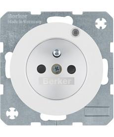 R.1/R.3 Gniazdo z uziemieniem i kontrolną diodą LED, biały, połysk