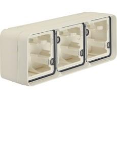 W.1 Puszka natynkowa 3-krotna pozioma 2 wejścia IP55 biały