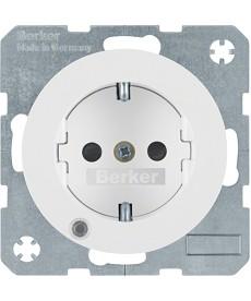 R.1/R.3 Gniazdo SCHUKO z diodą kontrolną LED biały, połysk