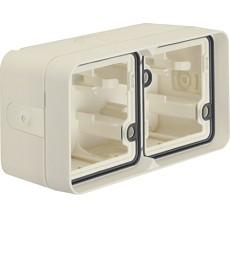 W.1 Puszka natynkowa 2-krotna pozioma 4 wejścia IP55 biały
