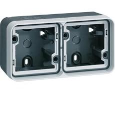 W.1 Puszka natynkowa 2-krotna pozioma 2 wejścia IP55 szary