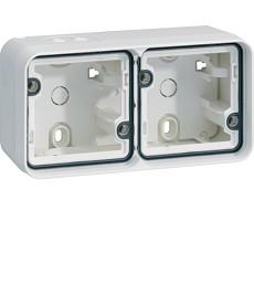 W.1 Puszka natynkowa 2-krotna pozioma 2 wejścia IP55 biały
