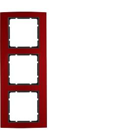 Ramka 3-krotna Berker B.3 alu, czerwony/antracyt