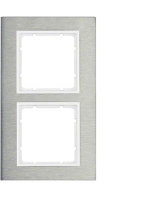 B.7 Ramka 2-krotna pionowa, stal szlachetna/biały