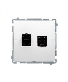 Gniazdo komputerowe rj45 x2 kat6 bm62.01/11 białe basic moduł k