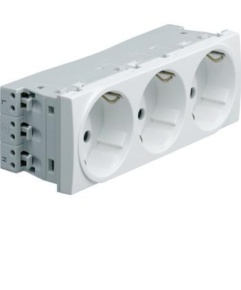 Gniazdo przelot. SCHUKO 3x(2P+Z); samozaciski; zab.dotyk. 6 modułów; biały; 16A/