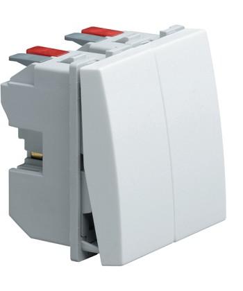 Łącznik klawiszowy przyciskowy zwierno/rozwierny; Systo; 1 moduł; biały; 10A/250