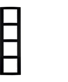 Ramka 4-krotna Berker B.3 alu, czarny/biały