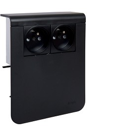 SL Nośnik urządzeń 20x115 2x gniazdo 2P+E, czarny