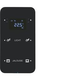 R.1 Sensor dotykowy 2-krotny z reg. temp. konfigurowalny, czarny, szkło