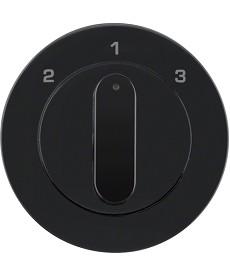 R.1/R.3 Płytka czołowa z pokrętłem do łącznika 3-pozycyjnego, czarny, połysk