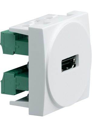 Gniazdo HDMI zaciski śrubowe; Systo; 2 moduły; biały