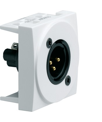 Gniazdo audio XLR męskie zaciski śrubowe; Systo; 2 moduły; biały