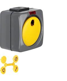 Łącznik klawiszowy przyciskowy z czerwoną soczewką i 4 dołączonymi symbolami; ci