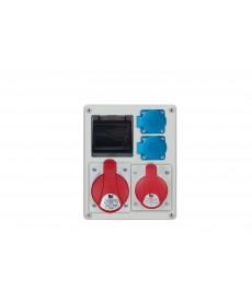 R-BOX 240 4S, 1x32A/5p, 1x16A/5p, 2x250V, puste okno, b/R