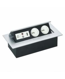Gniazdo wpuszczane w blat 230VAC, RJ45, USB, AUDIO