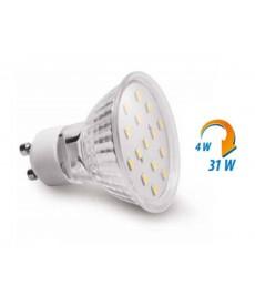ŻARÓWKA LED SMD 2835, 15 LED, ZIMNY BIAŁY, GU10, 6400K, 4W, KĄT 120° GTV