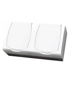 Gniazdo podwójne z uziemieniem, seria MADERAkolor biały, IP44 OSPEL GNH-2NZ/00/D