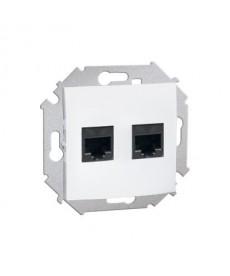 Gniazdo komput. Rj45 podw./Moduł/białe simon15 kontakt 1591552-030