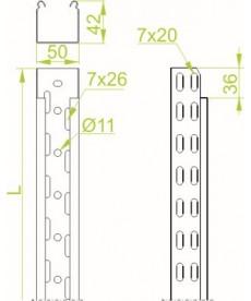 KORYTKO KABLOWE KGR 100H42/2M GR.0,5MM BAKS 141517