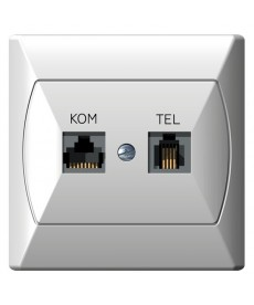 AKCENT Gniazdo komputerowo-telefoniczne RJ 45 kat. 5e, (8-stykowe) + RJ 11 (4-stykowe) Ref_GPKT-A/F/00
