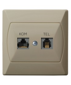 AKCENT Gniazdo komputerowo-telefoniczne RJ 45 kat. 5e, (8-stykowe) + RJ 11 (4-stykowe) Ref_GPKT-A/F/01