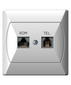 AKCENT Gniazdo komputerowo-telefoniczne RJ 45 kat. 5e, (8-stykowe) + RJ 11 (6-stykowe) Ref_GPKT-A/K/00