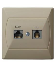 AKCENT Gniazdo komputerowo-telefoniczne RJ 45 kat. 5e, (8-stykowe) + RJ 11 (6-stykowe) Ref_GPKT-A/K/01