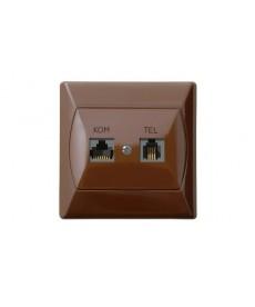 AKCENT Gniazdo komputerowo-telefoniczne RJ 45 kat. 5e, (8-stykowe) + RJ 11 (6-stykowe) Ref_GPKT-A/K/24