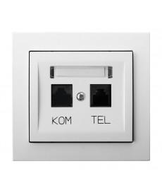 KIER Gniazdo komputerowo-telefoniczne RJ 45 kat. 5e, (8-stykowe) + RJ 11 (6-stykowe) Ref_GPKT-W/K/00