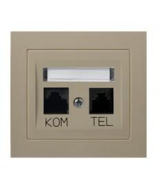 KIER Gniazdo komputerowo-telefoniczne RJ 45 kat. 5e, (8-stykowe) + RJ 11 (6-stykowe) Ref_GPKT-W/K/01