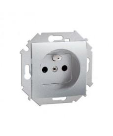 Gniazdo wtyczkowe z uziem. (moduł) 16ax 250v alu 1591408-026