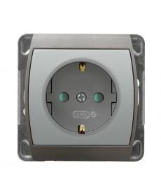 GAZELA Gniazdo pojedyncze z uziemieniem schuko z przesłonami torów prądowych Ref_GP-1JSP/m/18/23
