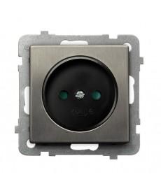 SONATA STAL INOX Gniazdo pojedyncze z przesłonami torów prądowych Ref_GP-1RMP/m/37