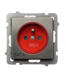 SONATA STAL INOX Gniazdo pojedyncze z uziemieniem DATA z przesłonami torów prądowych Ref_GP-1RMZDP/m/37