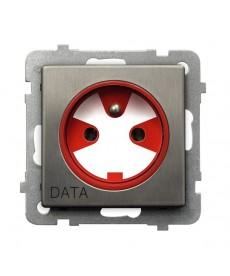 SONATA STAL INOX Gniazdo pojedyncze z uziemieniem DATA z kluczem uprawniającym Ref_GP-1RMZK/m/37