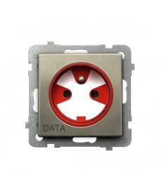 SONATA NOWE SREBRO Gniazdo pojedyncze z uziemieniem DATA z kluczem uprawniającym Ref_GP-1RMZK/m/44