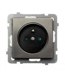 SONATA STAL INOX Gniazdo pojedyncze z uziemieniem z przesłonami torów prądowych Ref_GP-1RMZP/m/37