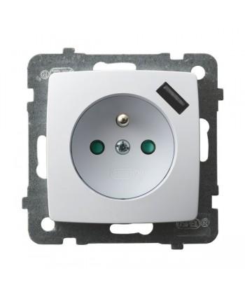 KARO Gniazdo pojedyncze z uziemieniem z przesłonami torów prądowych, z ładowarką USB Ref_GP-1SZPUSB/m/00