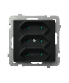 SONATA Gniazdo potrójne EURO z przesłonami torów prądowych Ref_GP-3RP/m/33