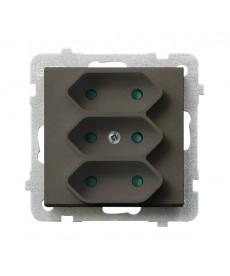 SONATA Gniazdo potrójne EURO z przesłonami torów prądowych Ref_GP-3RP/m/40