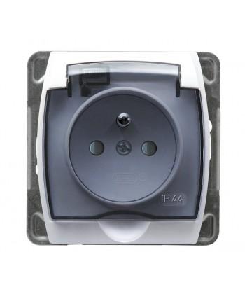 GAZELA Gniazdo bryzgoszczelne z uziemieniem IP-44 z przesłonami torów prądowych wieczko przezroczyste Ref_GPH-1JZP/m/00/d