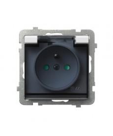 SONATA Gniazdo bryzgoszczelne z uziemieniem IP-44 z przesłonami torów prądowych wieczko przezroczyste Ref_GPH-1RZP/m/00/d