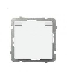 SONATA Gniazdo bryzgoszczelne z uziemieniem IP-44 z przesłonami torów prądowych wieczko w kolorze wyrobu Ref_GPH-1RZP/m/00/w