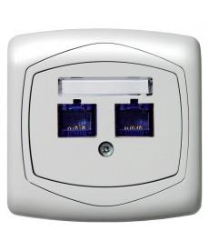 TON COLOR SYSTEM Gniazdo komputerowe podwójne, kat. 5e MMC Ref_GPK-2C/K/m/00